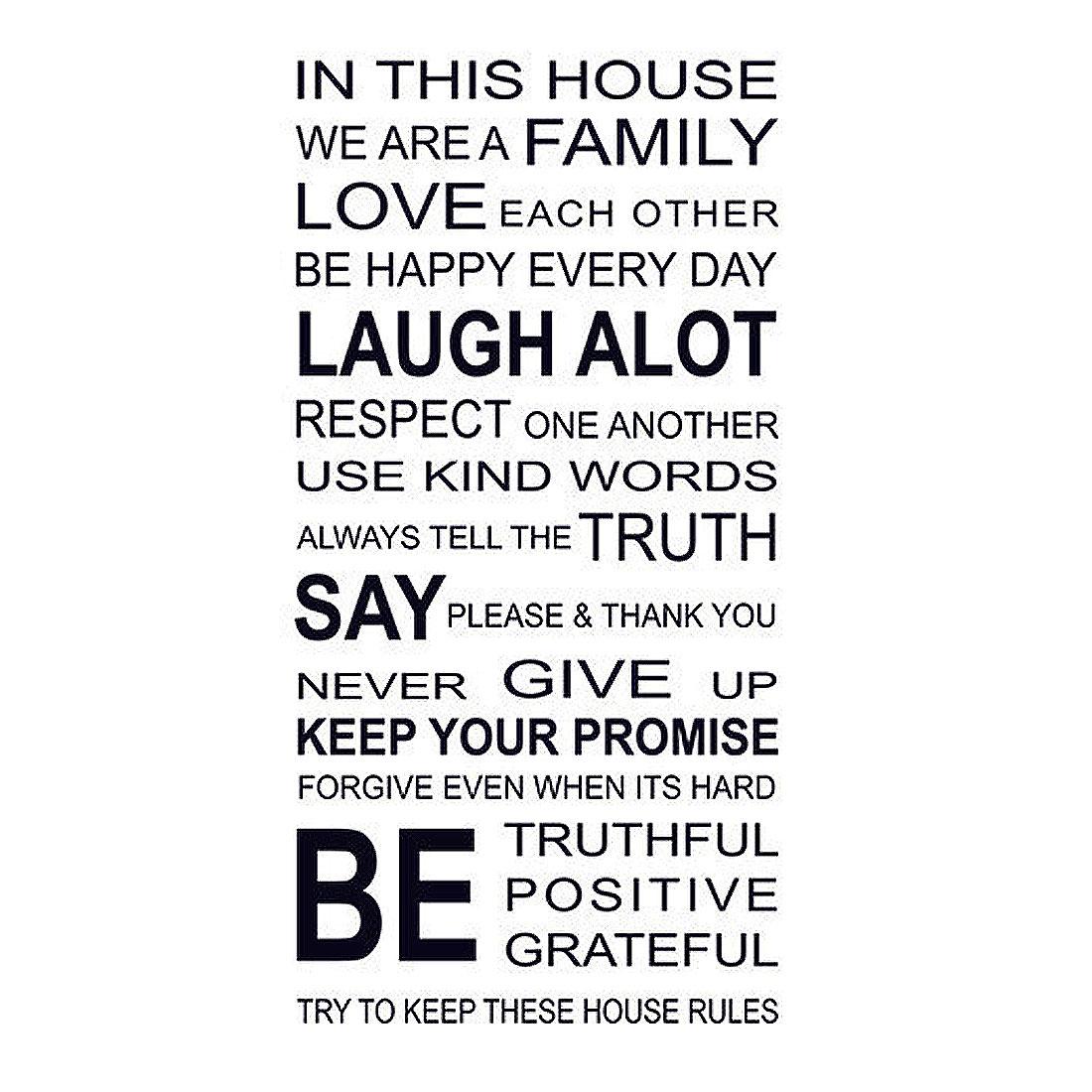 Bedroom PVC English Proverbs Poetry Print Self-adhesive Decor Wall Sticker Black