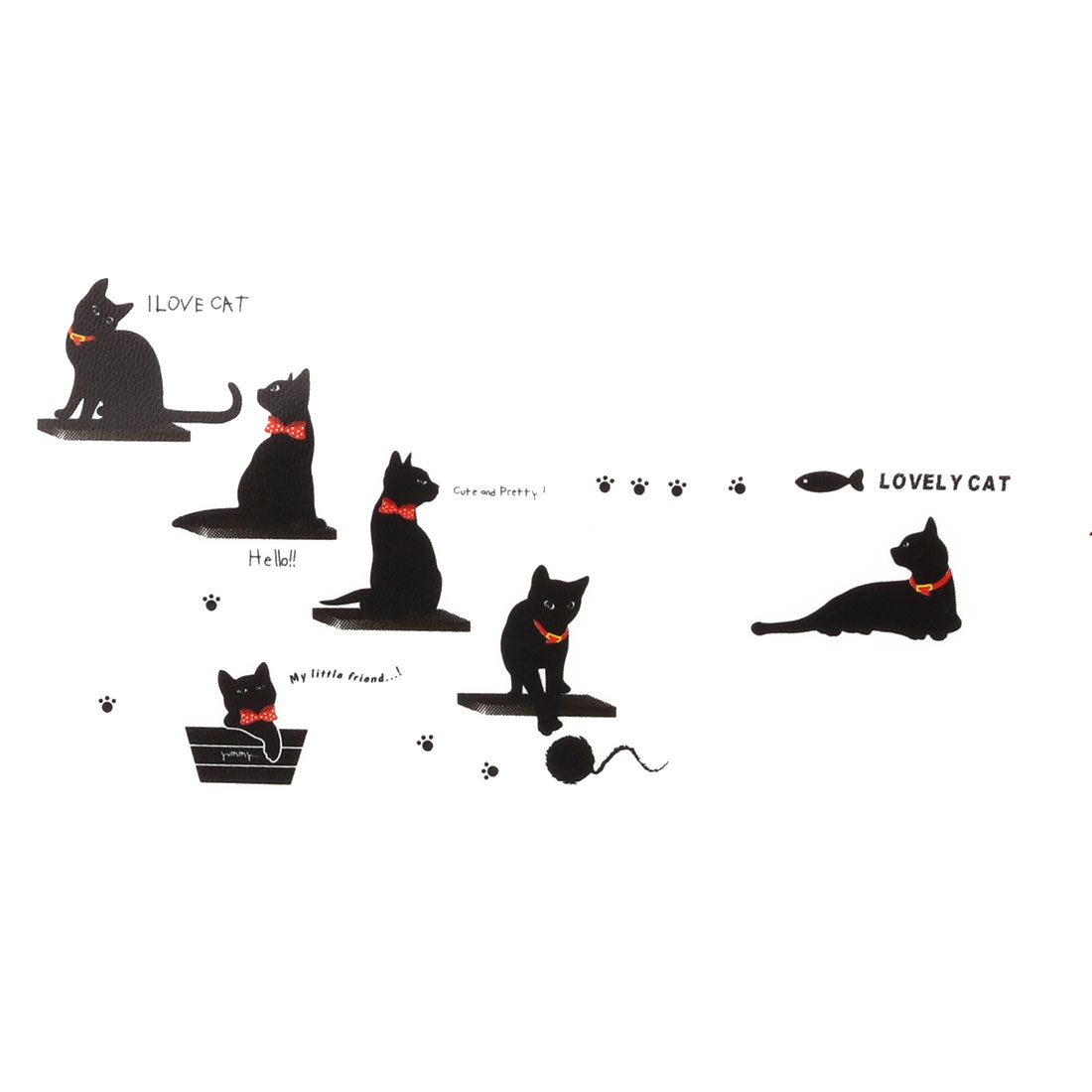 Bedroom PVC Cat Pattern Self-adhesive Decoration Gift Wall Sticker Mural Black