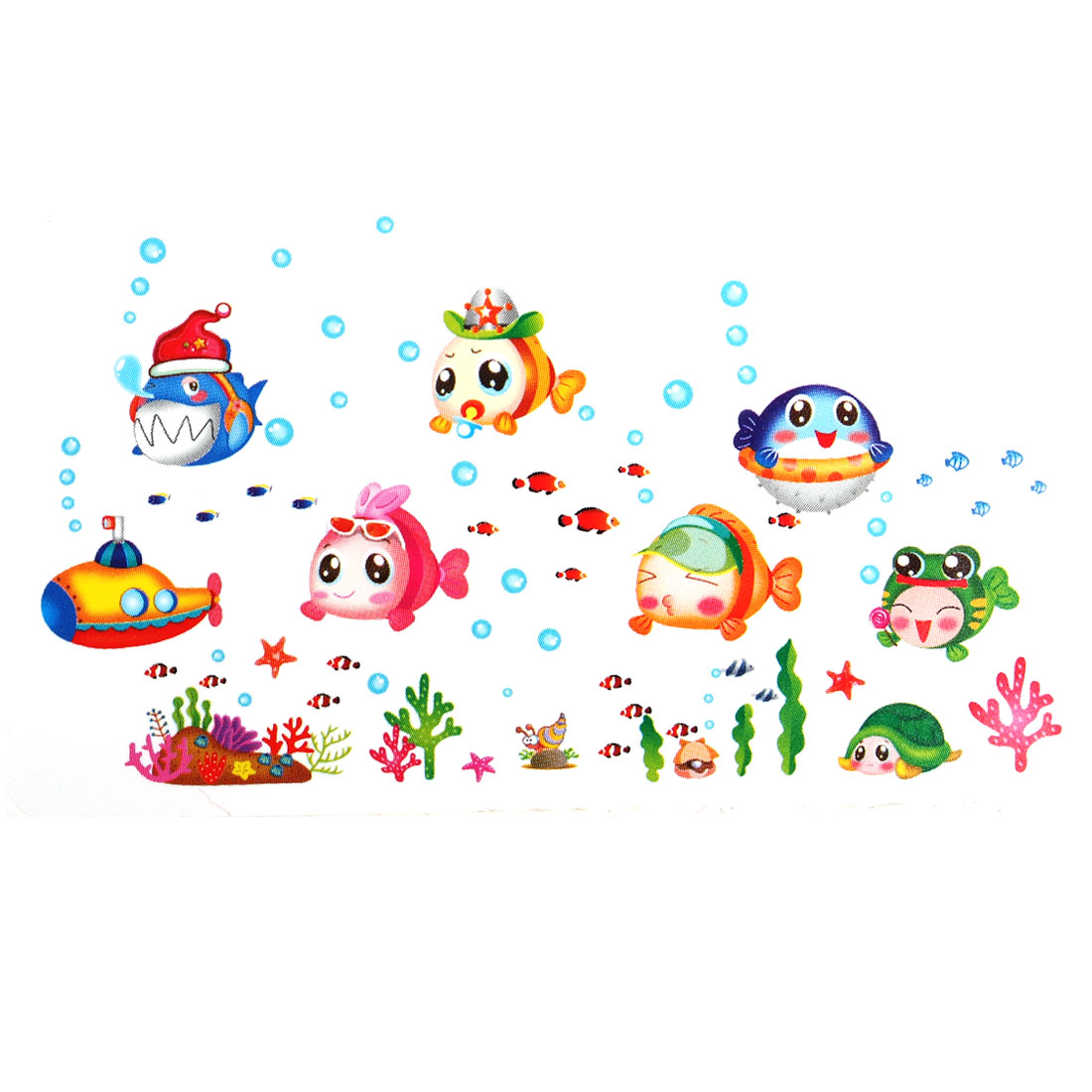 Bedroom PVC Fish Pattern Self-adhesive Decoration Wall Sticker Decal Multicolor