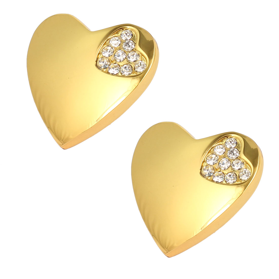Drawer Dresser Heart Shaped Rhinestone Detail Pull Handle Knob Gold Tone 2pcs