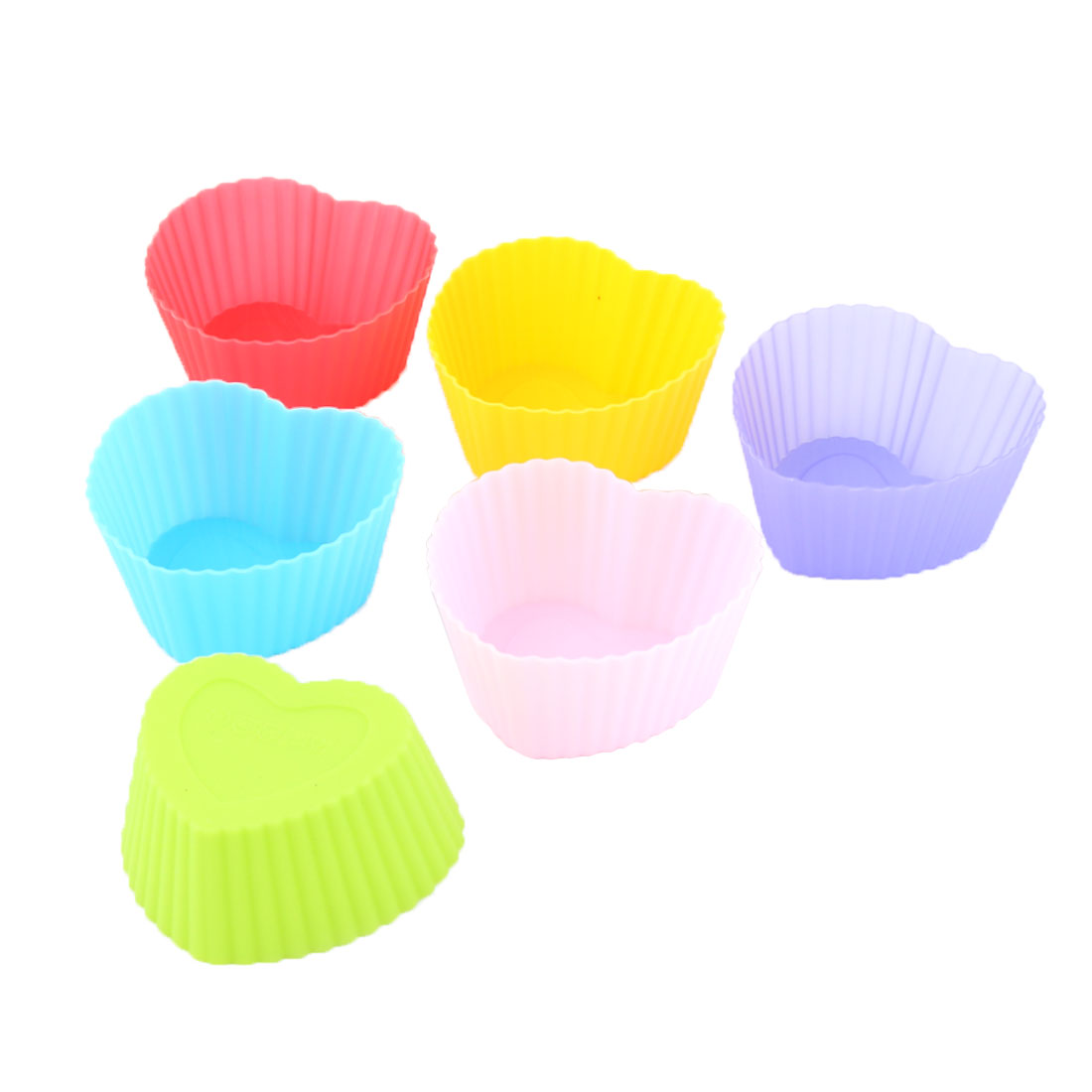 Home Bakery Silicone Heart Shaped Cake Cupcake Mold Pan Baking Storage Cup Assorted Color 6pcs