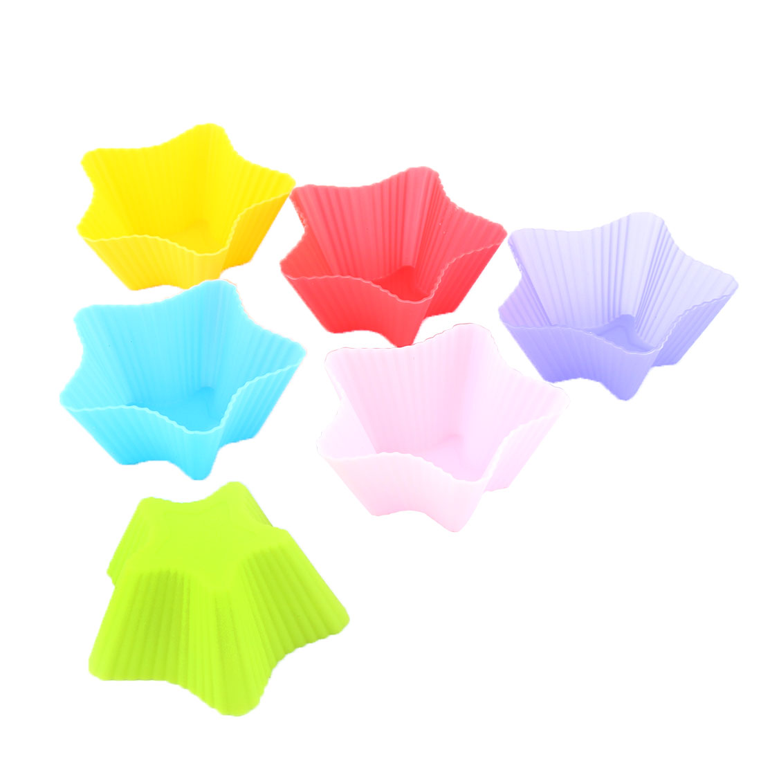 Home Bakery Silicone Star Shaped Cake Cupcake Mold Pan Baking Cup Assorted Color 6pcs