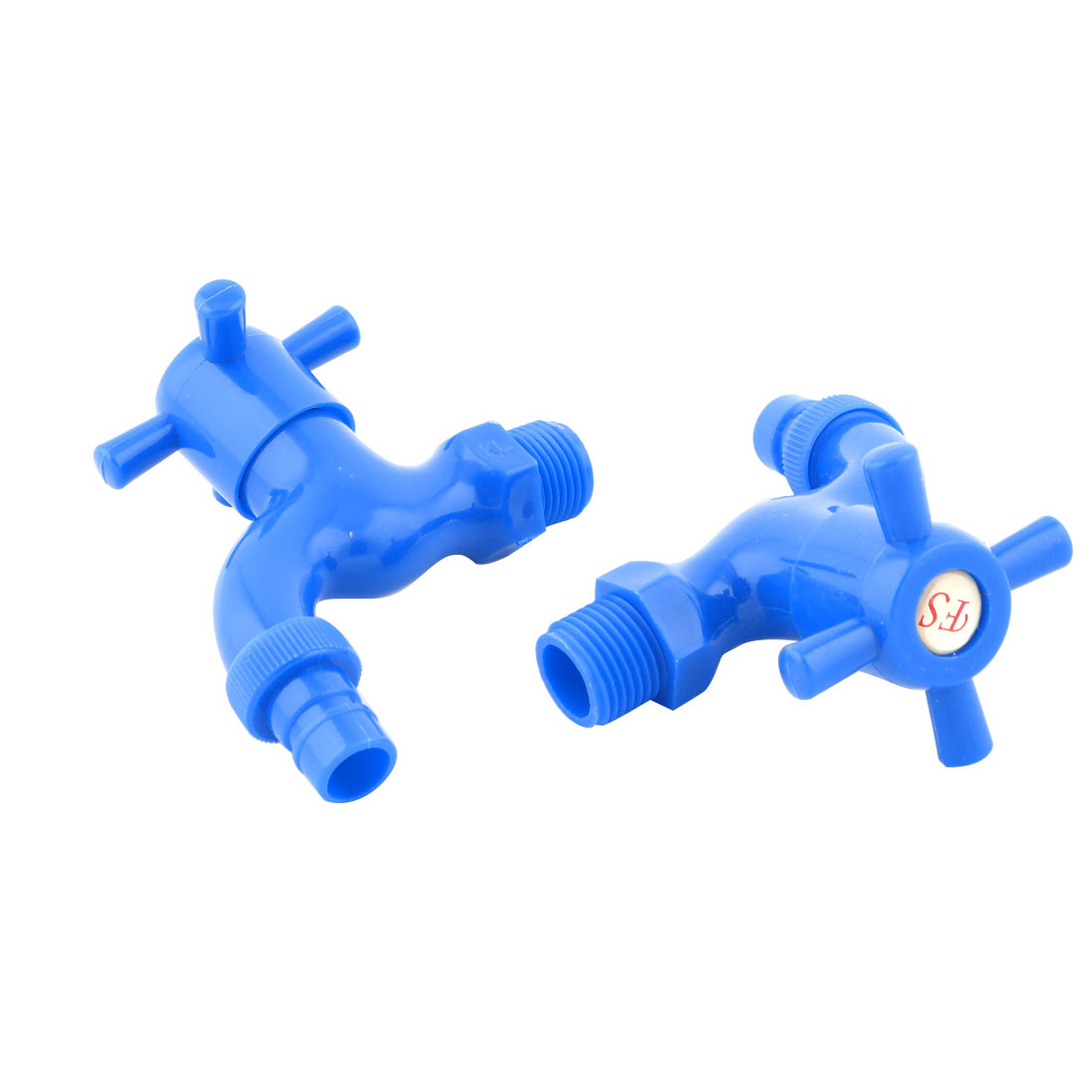 Household Plastic Replaceable Turn Handle Water Tap Stopcock Faucet Blue 2 Pcs