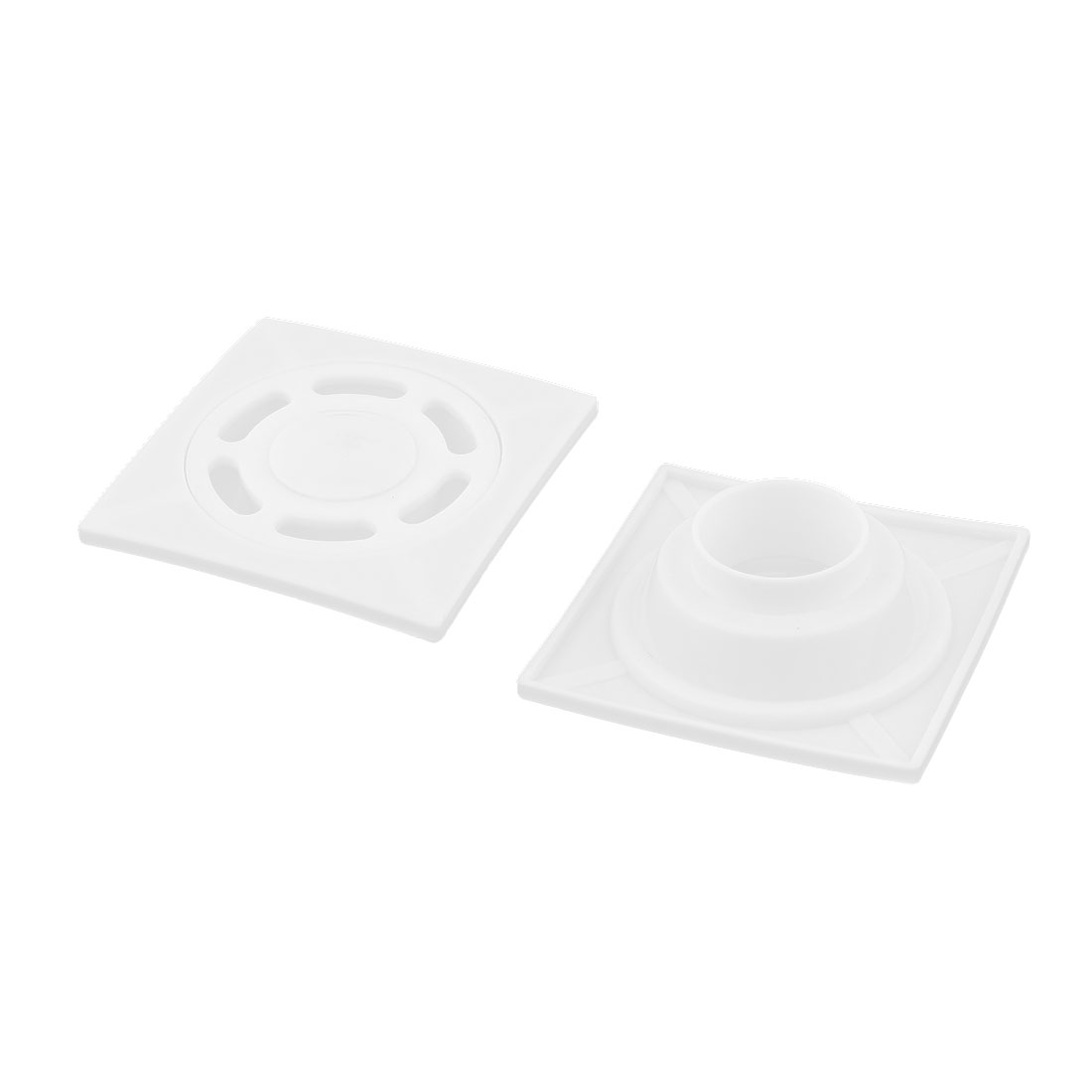Bathroom Plastic Square Sundries Hair Stopper Water Strainer Floor Drain White 2 Pcs
