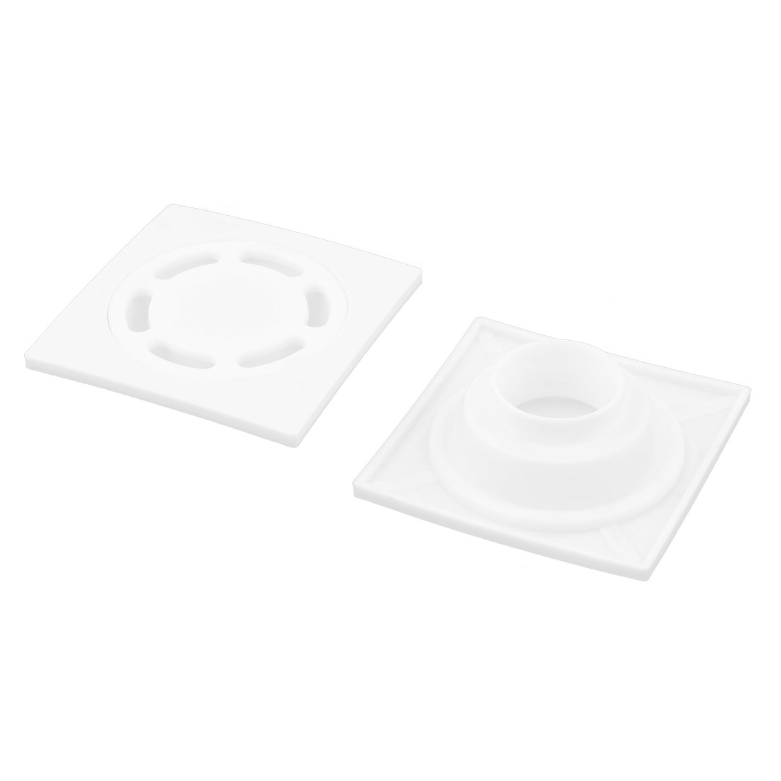 Home Plastic Square Sundries Hair Stopper Water Strainer Floor Drain White 2 Pcs