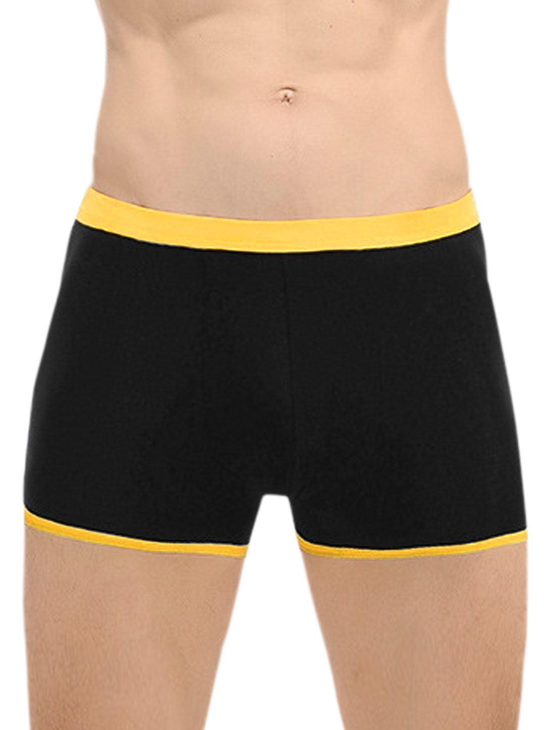 Men Elastic Waist Contrast Color Breathable Boxer Brief 1 Pack Black W34