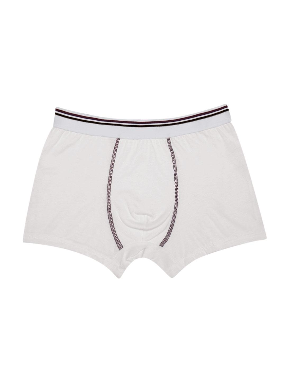 Boys Elastic Waist Stripes Boxer Brief 1 Pack White L
