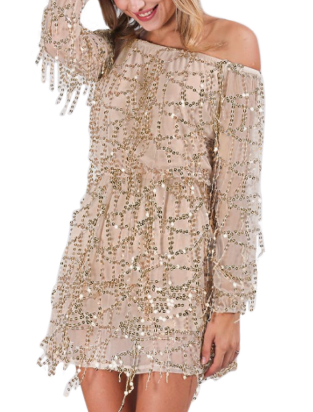 Women Off Shoulder Long Sleeves Sequined Decor Tunic Mesh Dress Brown XS