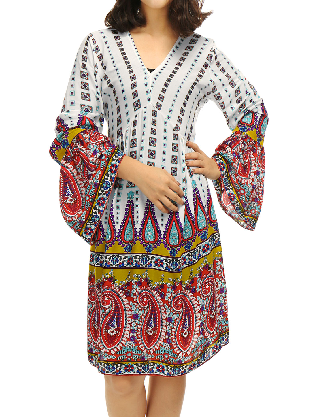 Women Long Sleeves Floral Paisleys Geometric Tunic Dress Red XS