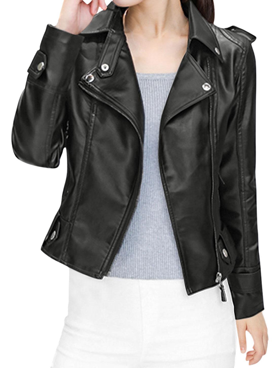 Women Convertible Collar Long Sleeves Buttoned Zip Up PU Jacket Black XS