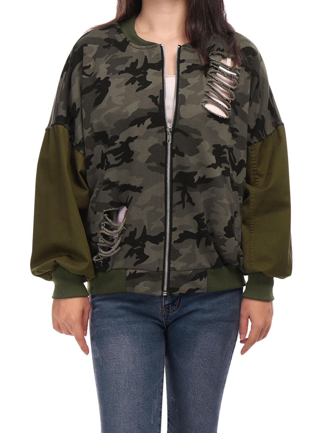 Women Drop Shoulder Camouflage Pattern Destroyed Jacket Brown XS