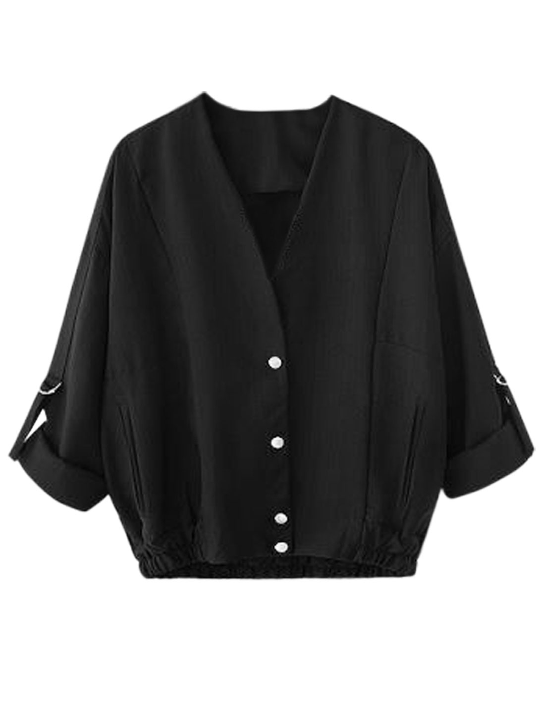 Women V Neck Roll Up Sleeve Snap Button Closure Loose Coat Black S