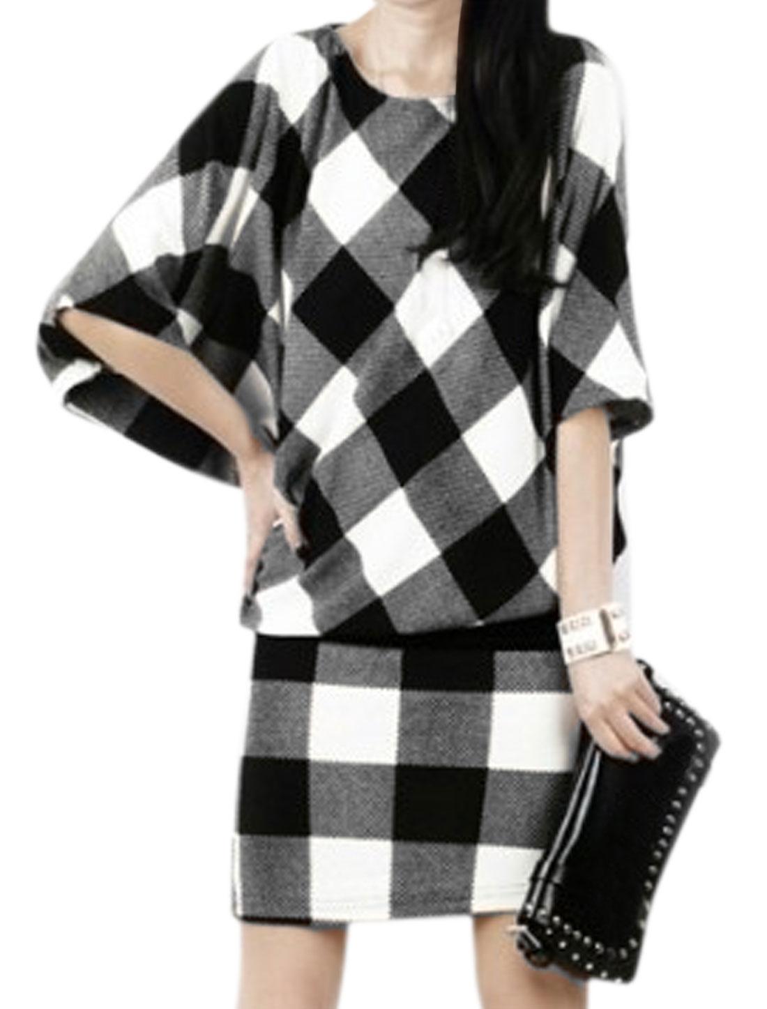 Women 3/4 Batwing Sleeves Checks Movable Waist Belt Dress Black XS