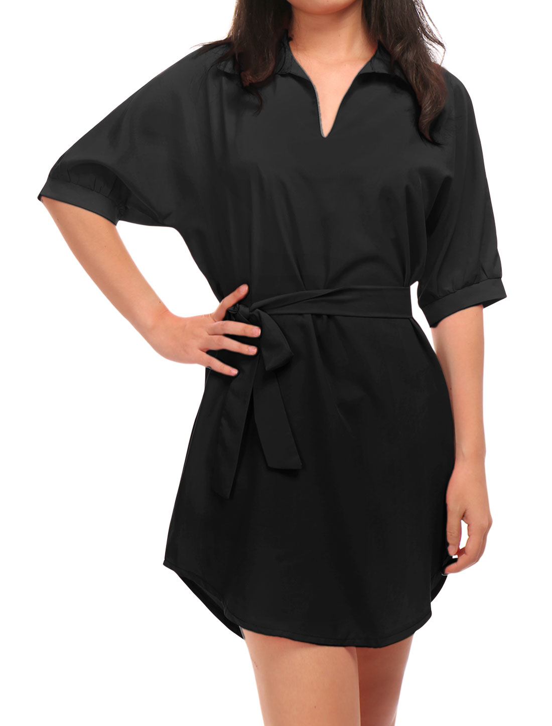 Women Point Collar Batwing Sleeves Round Hem Tunic Dress w Belt Black M