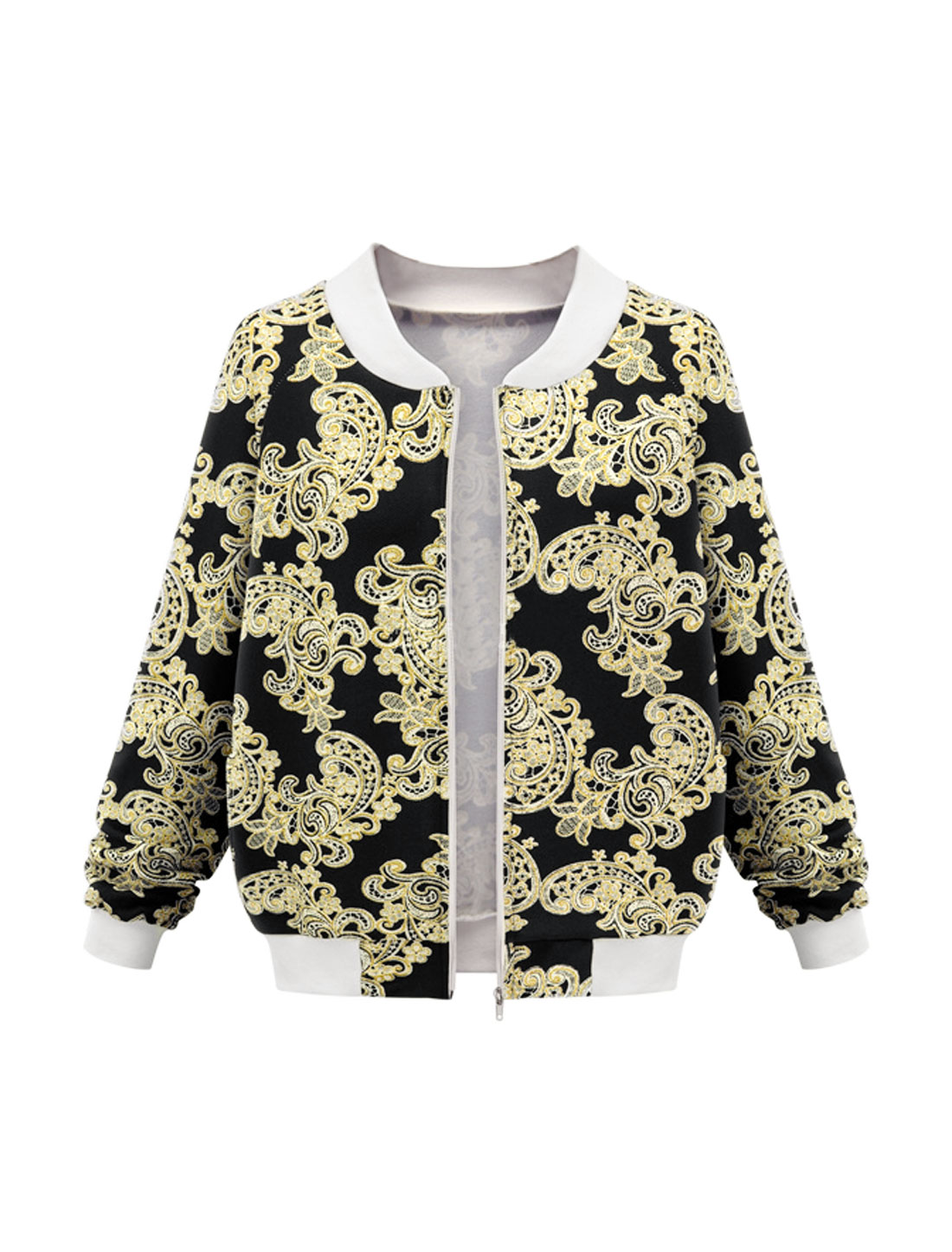 Women Stand Collar Long Sleeves Novelty Prints Zip Up Jacket Black M