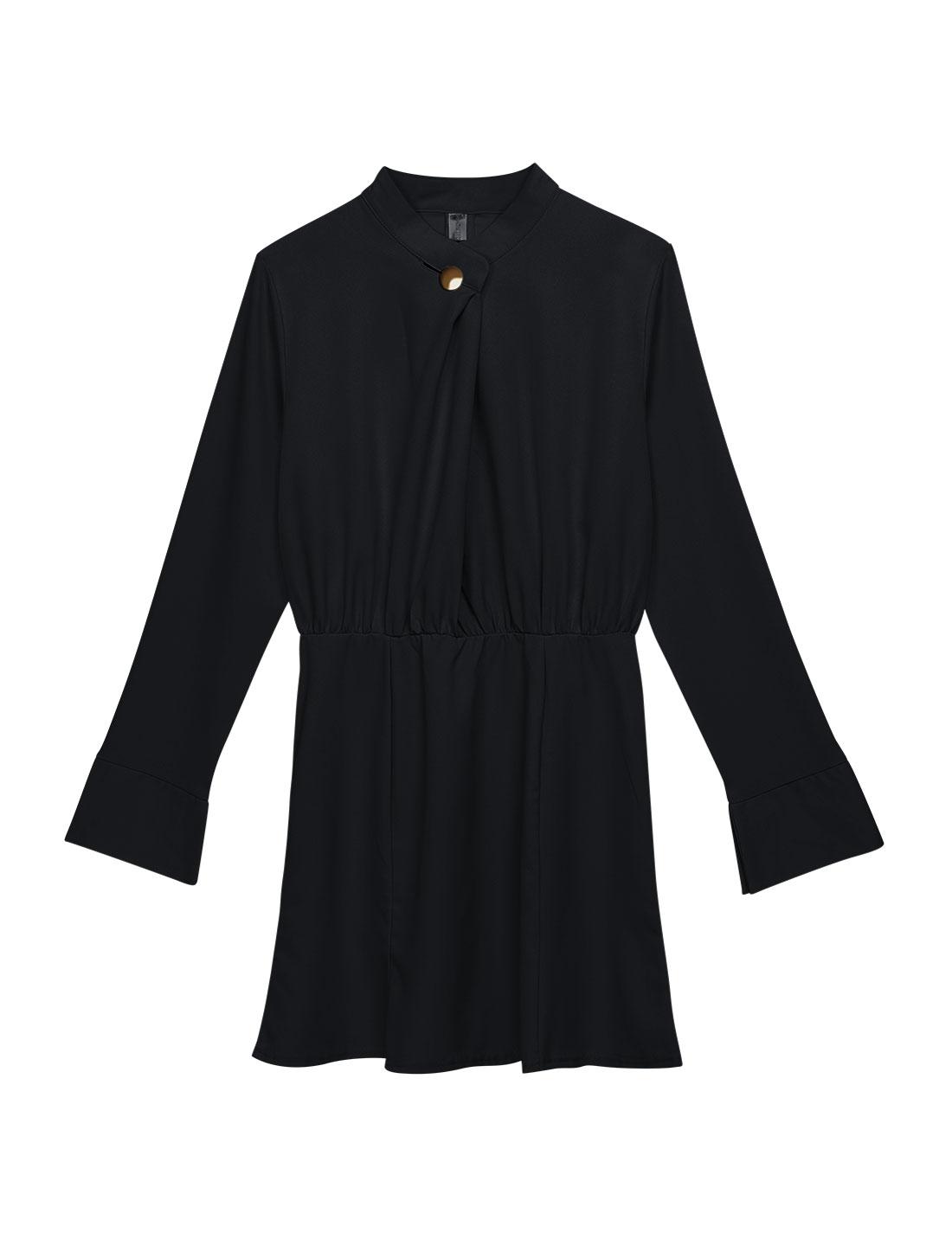 Women Stand Collar Long Sleeves One Button Closure A Line Dress Black M