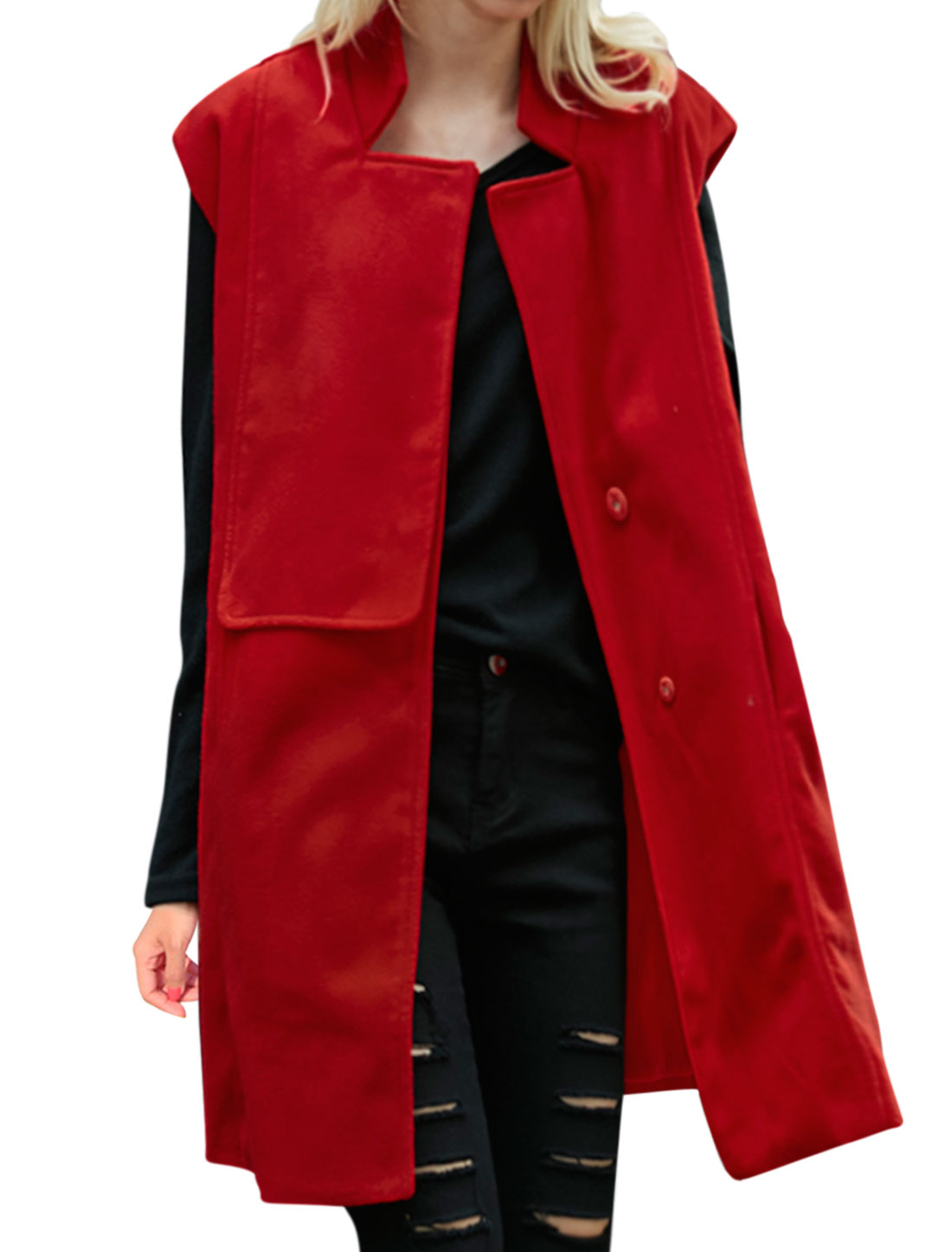 Women Stand Collar Layered Front Loose Tunic Worsted Vest Red XS
