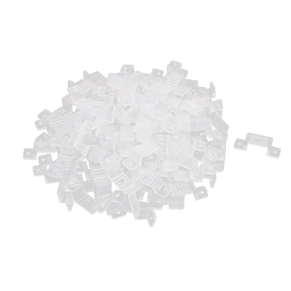 18mm x 8mm Plastic LED Light Strip Fixing Mounting Bracket Clear 100pcs