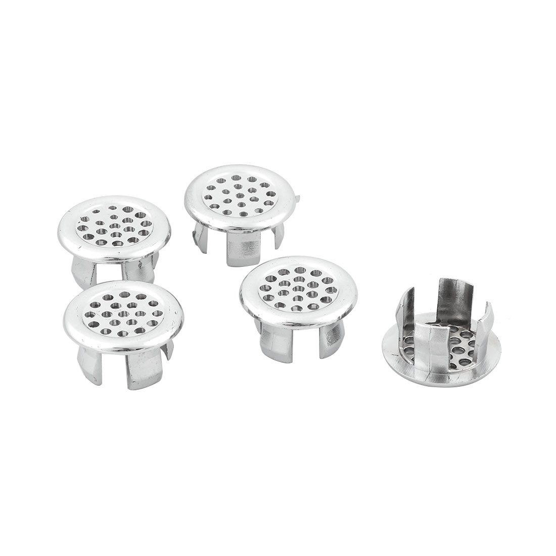 Household Basin Round Shaped Meshy Hole Insert Trim Sink Overflow Cover 5 Pcs