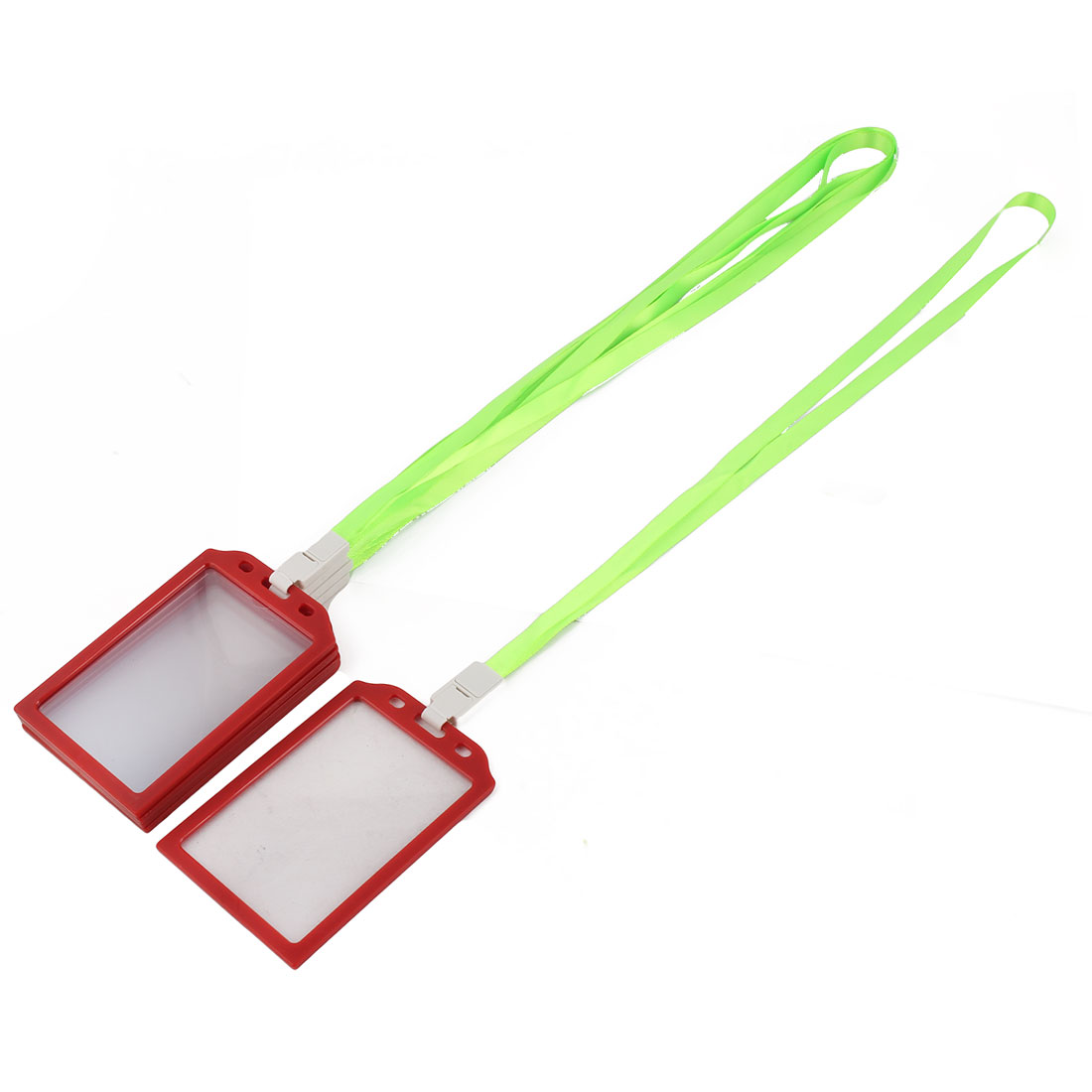 Company School Plastic Rectangle Name ID Card Tag Badge Holder Container Light Green 5 Pcs