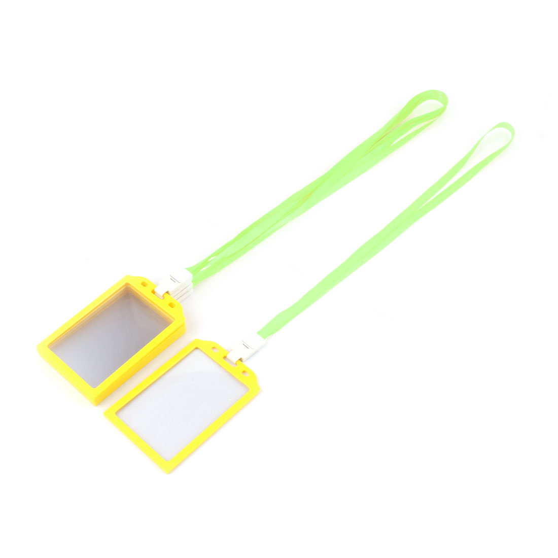 Factory Worker Plastic Rectangle Name ID Card Tag Badge Holder Container Light Green 5 Pcs