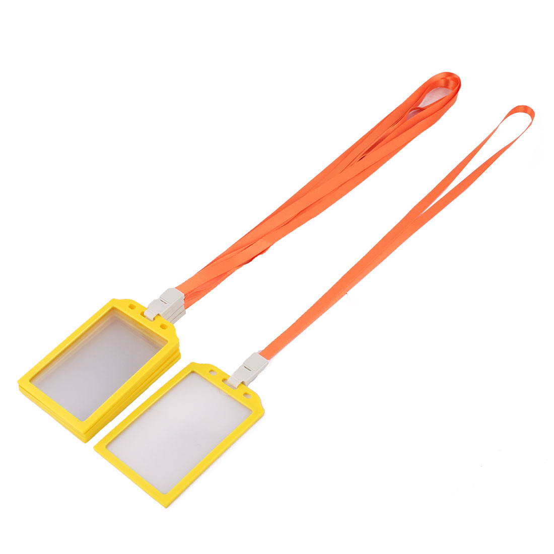 Factory Worker Plastic Rectangle Name ID Card Tag Badge Holder Container Orange 5 Pcs