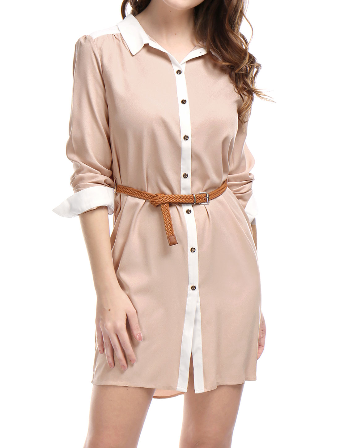 Women Contrast Color Long Sleeves Above Knee Belted Shirt Dress Pink M