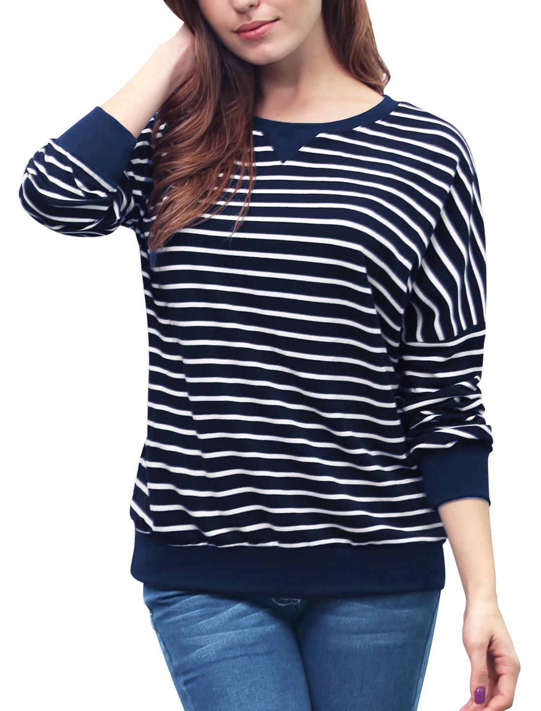 Ladies Stripes Dropped Shoulder Loose Sweatshirt Dark Blue L
