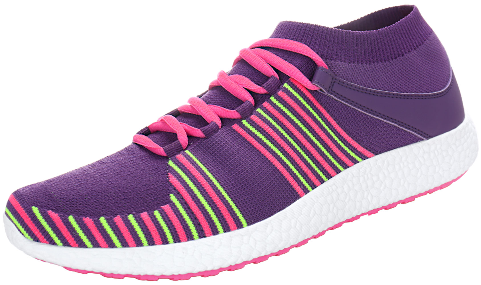 PYPE Women Knitting Mesh Upper Striped Lace Up Training Shoes Purple US 8.5