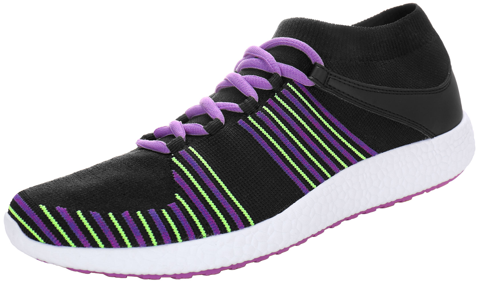 PYPE Women Knitting Mesh Upper Striped Lace Up Training Shoes Black US 7.5