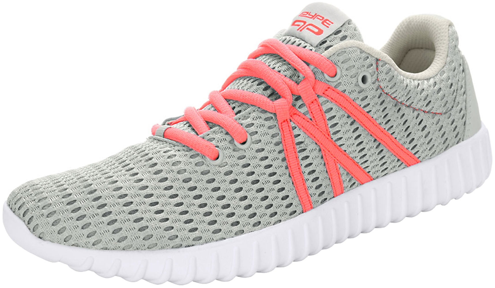 PYPE Women Contrast Color Lace Up Mesh Training Sneakers Gray US 8