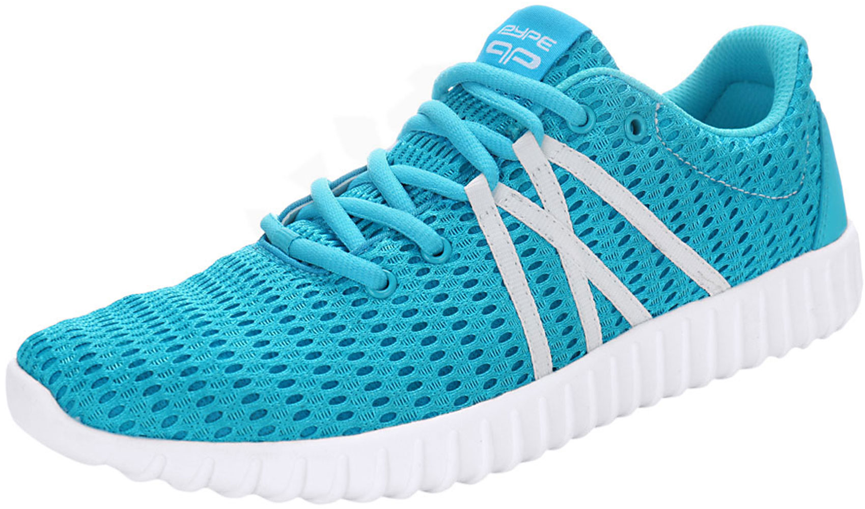 PYPE Women Contrast Color Lace Up Mesh Training Sneakers Blue US 7.5