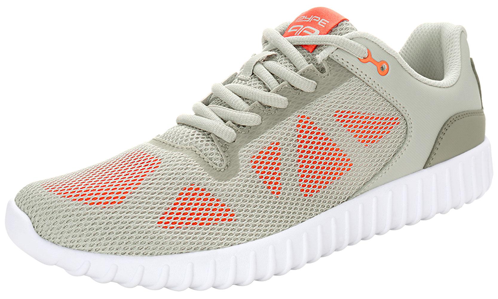 PYPE Women Geometric Prints Lace Up Mesh Training Shoes Gray US 9