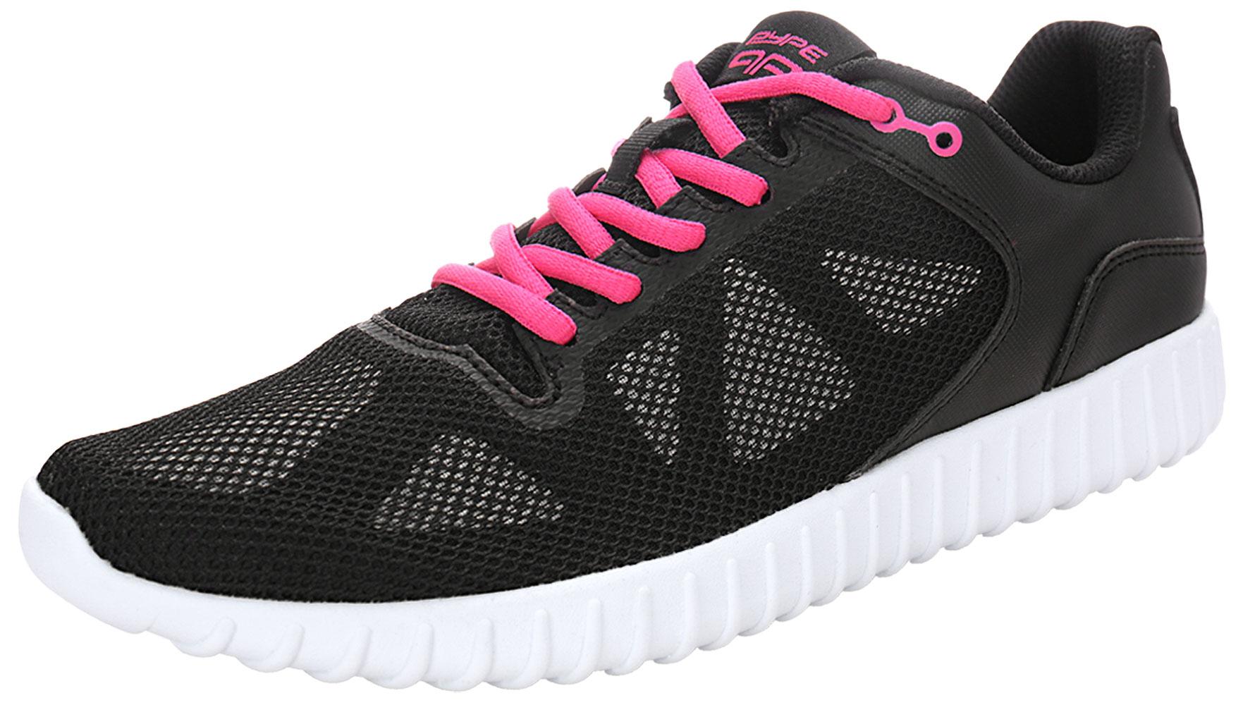 PYPE Women Geometric Prints Lace Up Mesh Training Shoes Black US 9