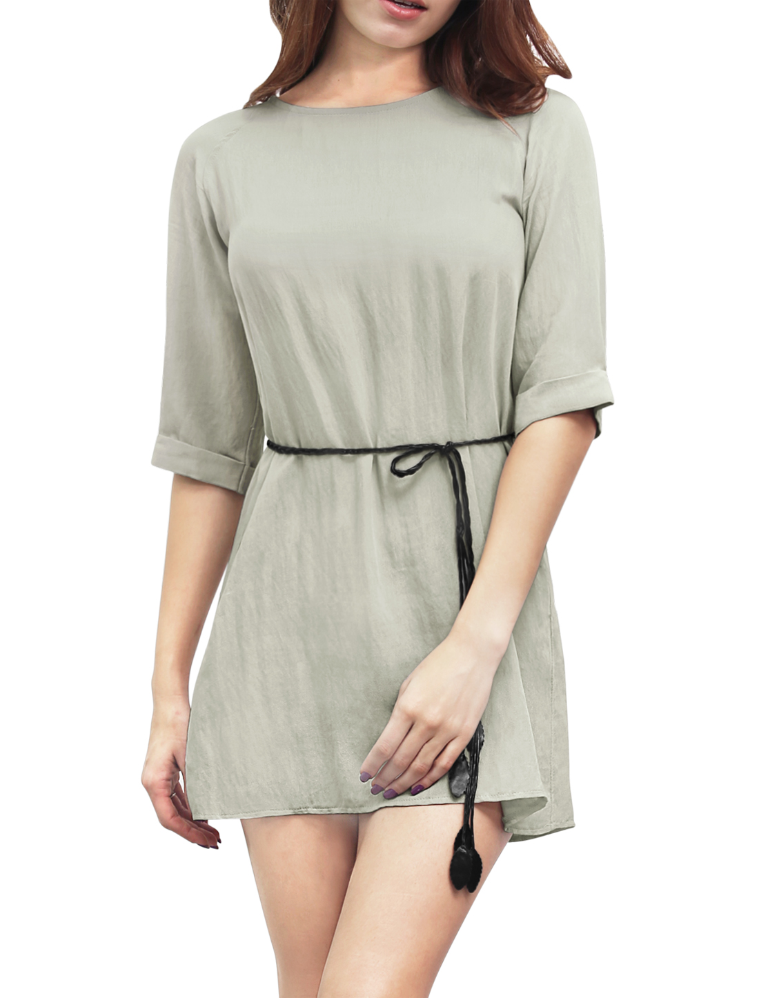 Women 3/4 Raglan Sleeves Belted Linen Mini Dress Gray L