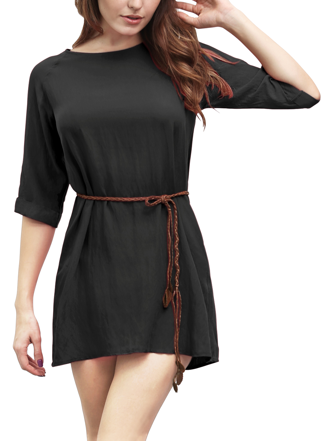 Women 3/4 Raglan Sleeves Belted Linen Mini Dress Black XL