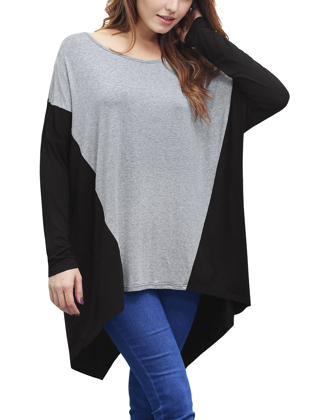 Women Batwing Sleeves Color Block Loose Tunic Top Gray S