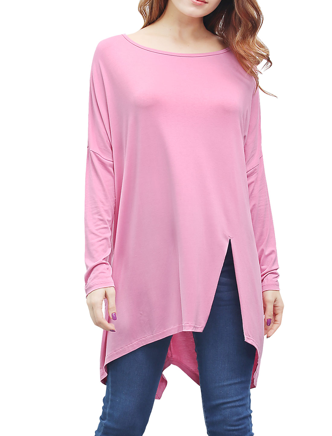 Women Batwing Sleeves Front Slit Oversized Tunic Top Pink L
