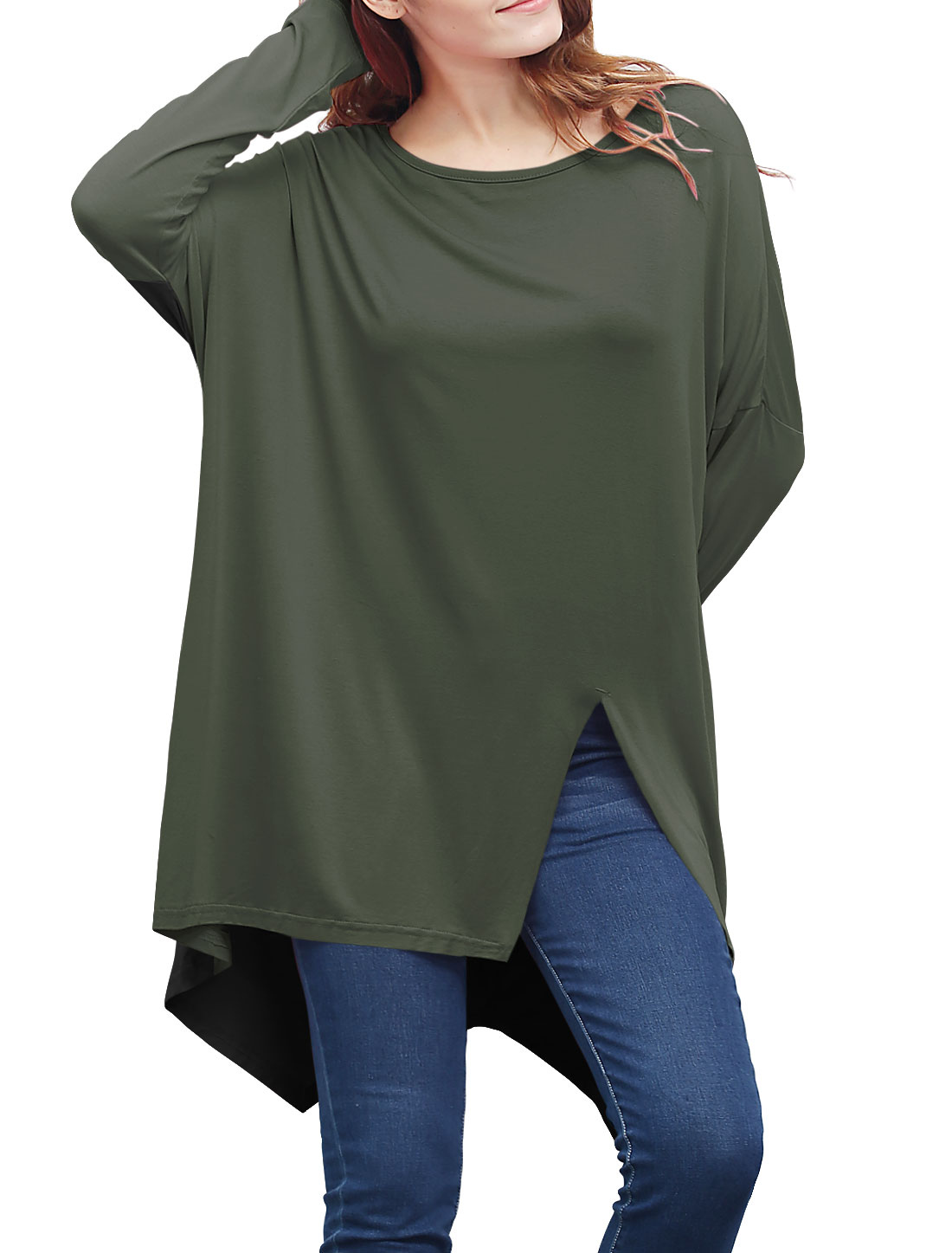 Women Batwing Sleeves Front Slit Oversized Tunic Top Green XS