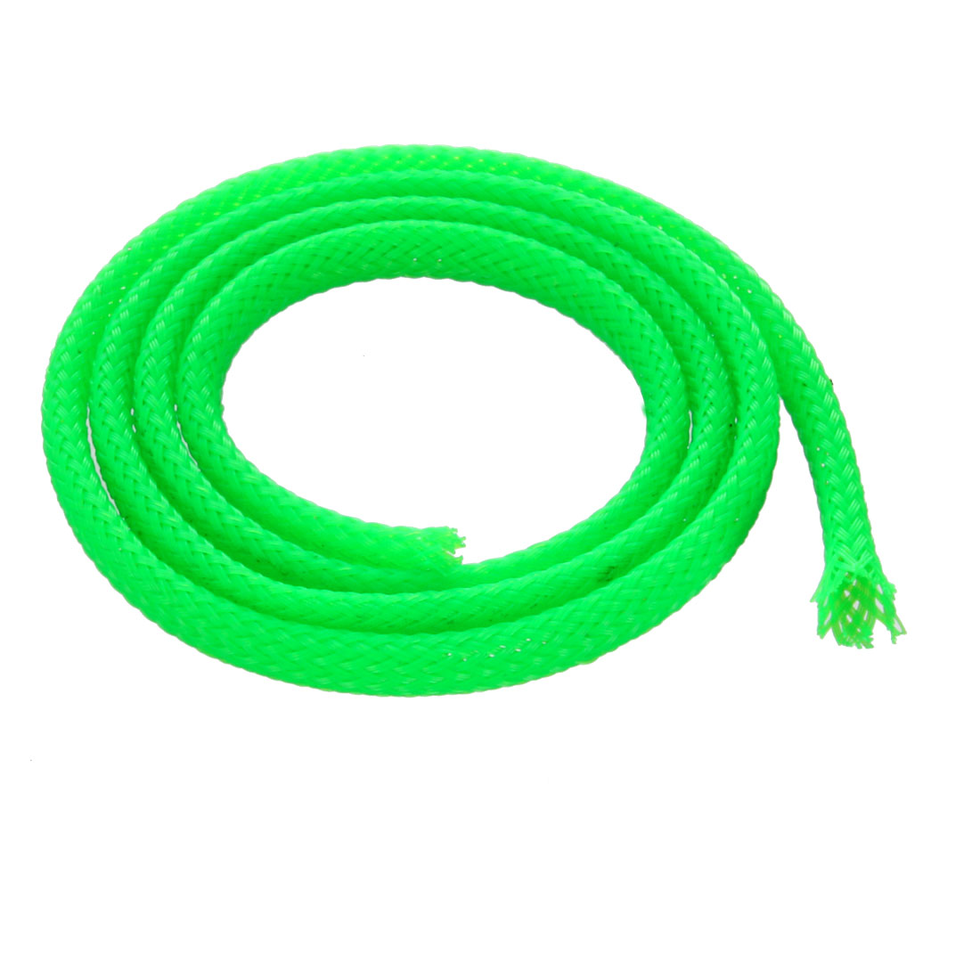 4mm Dia Tight Braided PET Expandable Sleeving Cable Wrap Sheath Fluorescent Green 50CM