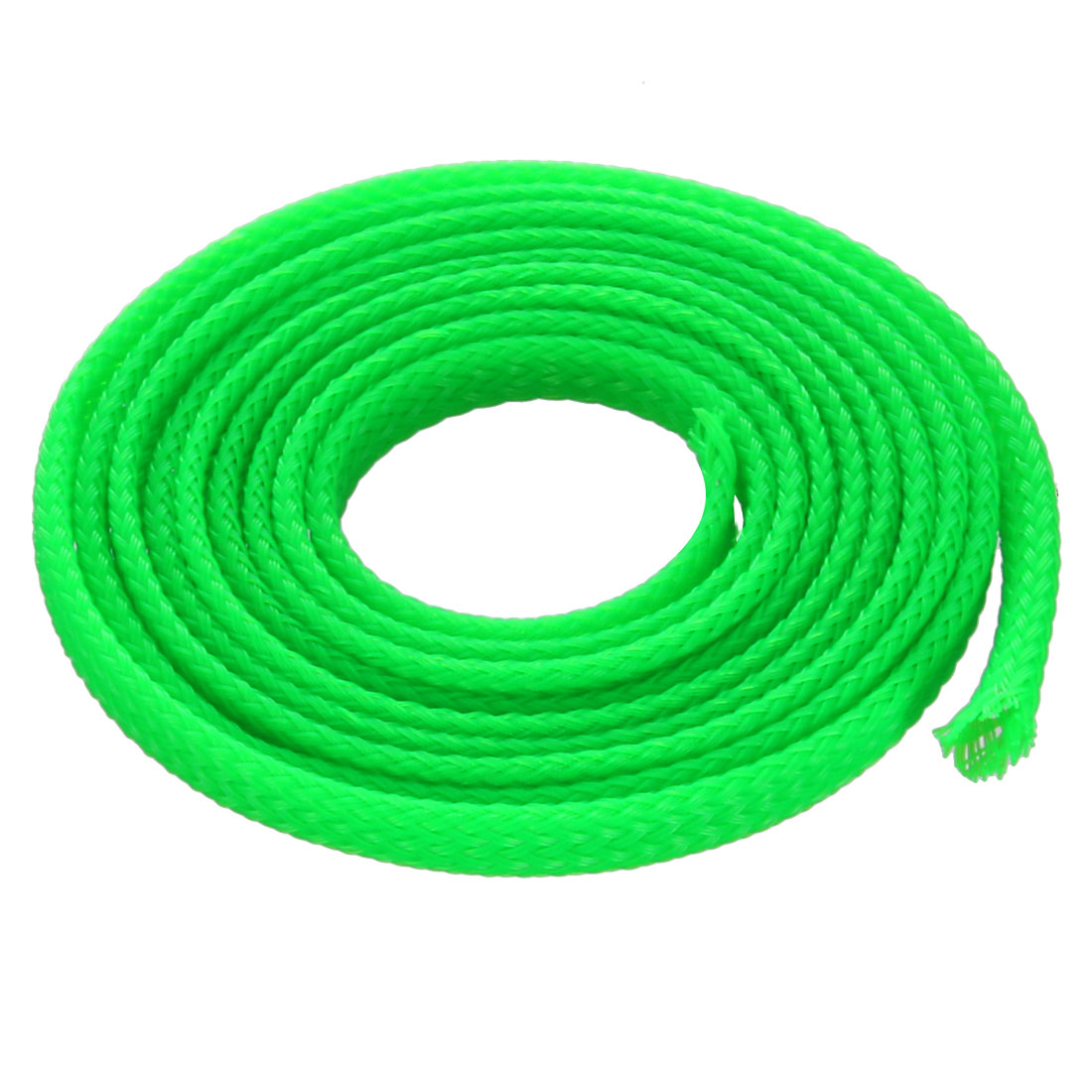 4mm Dia Tight Braided PET Expandable Sleeving Cable Wrap Sheath Fluorescent Green 3Ft