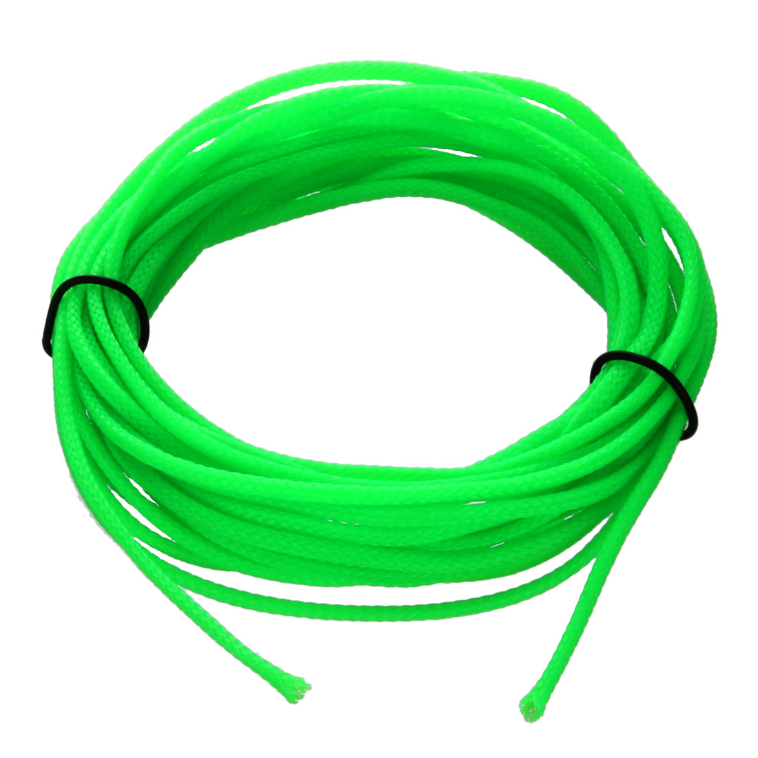 4mm Dia Tight Braided PET Expandable Sleeving Cable Wrap Sheath Fluorescent Green 16Ft