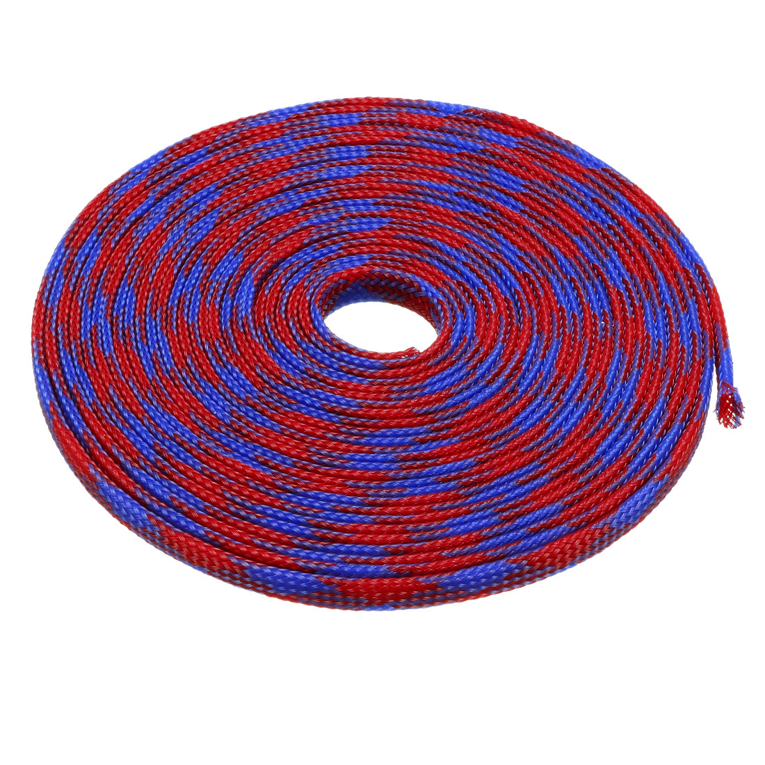 4mm Dia Tight Braided PET Expandable Sleeving Cable Wrap Sheath Blue Red 10M Length