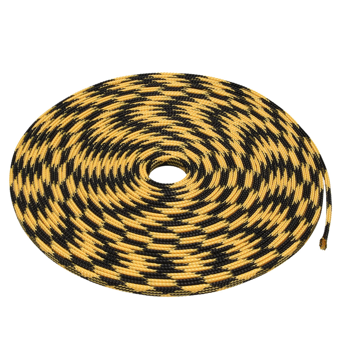 4mm Dia Tight Braided PET Expandable Sleeving Cable Wrap Sheath Black Yellow 32Ft