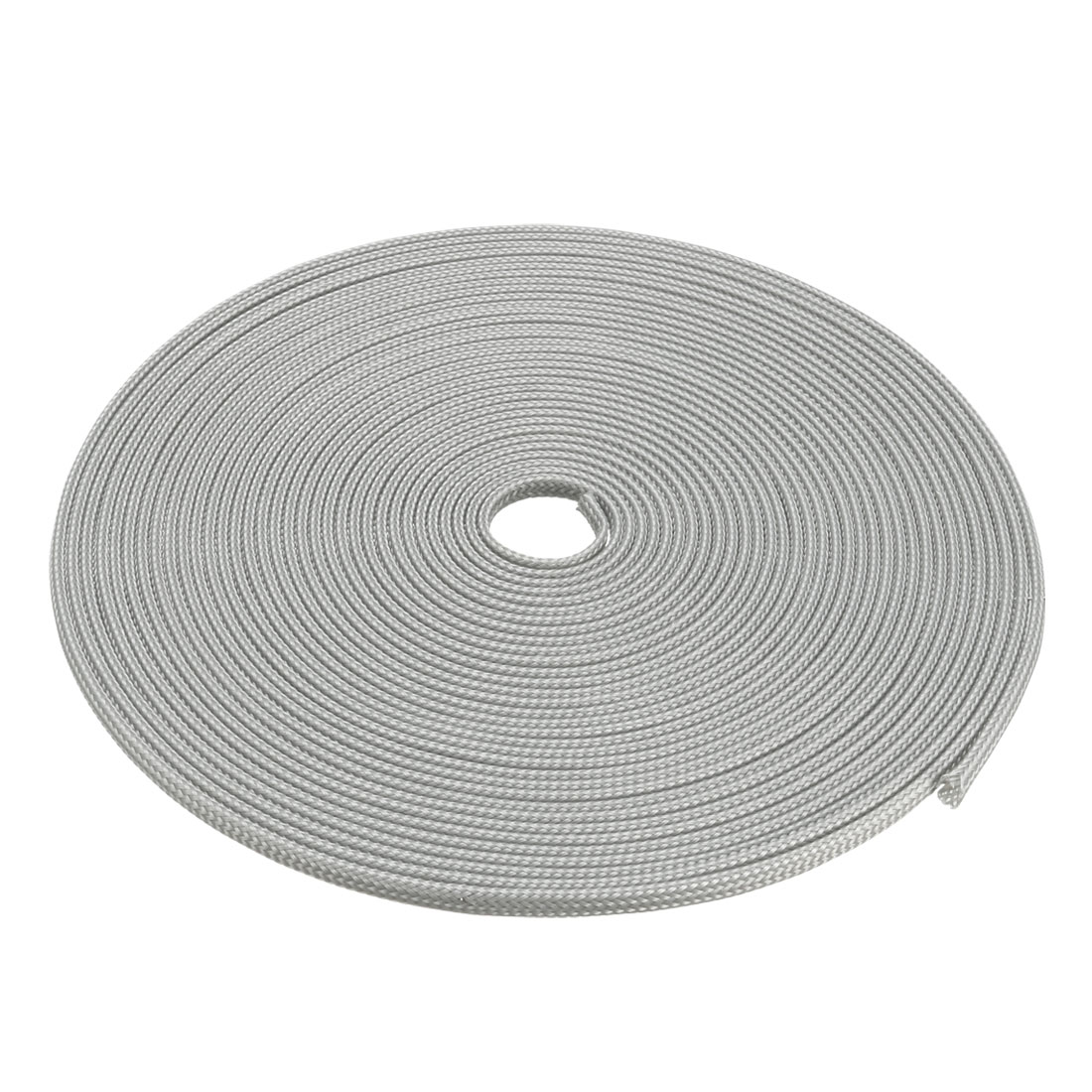 4mm Dia Tight Braided PET Expandable Sleeving Cable Wrap Sheath Silver White 32Ft