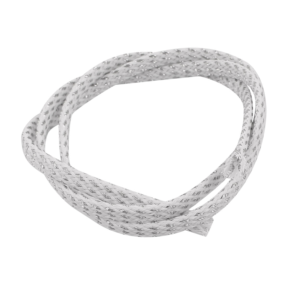 4mm Dia Tight Braided PET Expandable Sleeving Cable Wrap Sheath Silver White 5CM Length