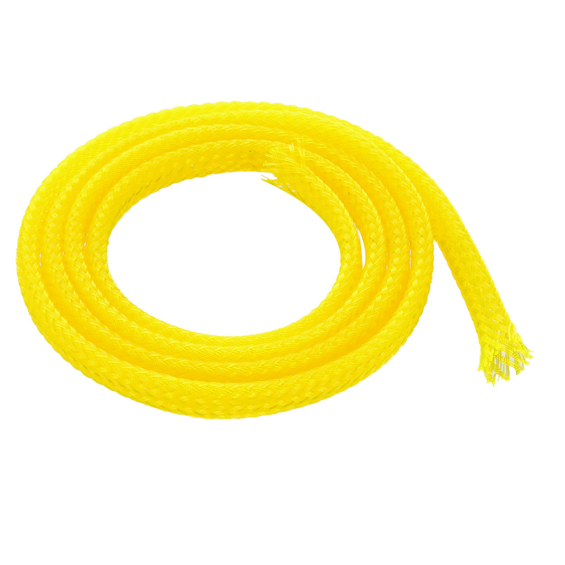 4mm Dia Tight Braided PET Expandable Sleeving Cable Wire Wrap Sheath Yellow 50CM