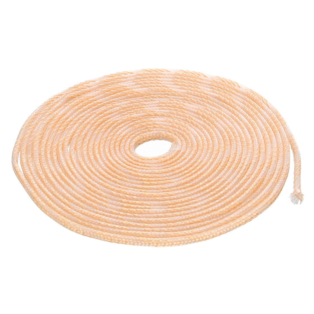 6mm Dia Tight Braided PET Expandable Sleeving Cable Wrap Sheath Transparent Orange 5M Length