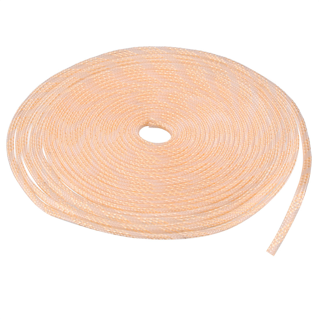 6mm Dia Tight Braided PET Expandable Sleeving Cable Wrap Sheath Transparent Orange 32Ft
