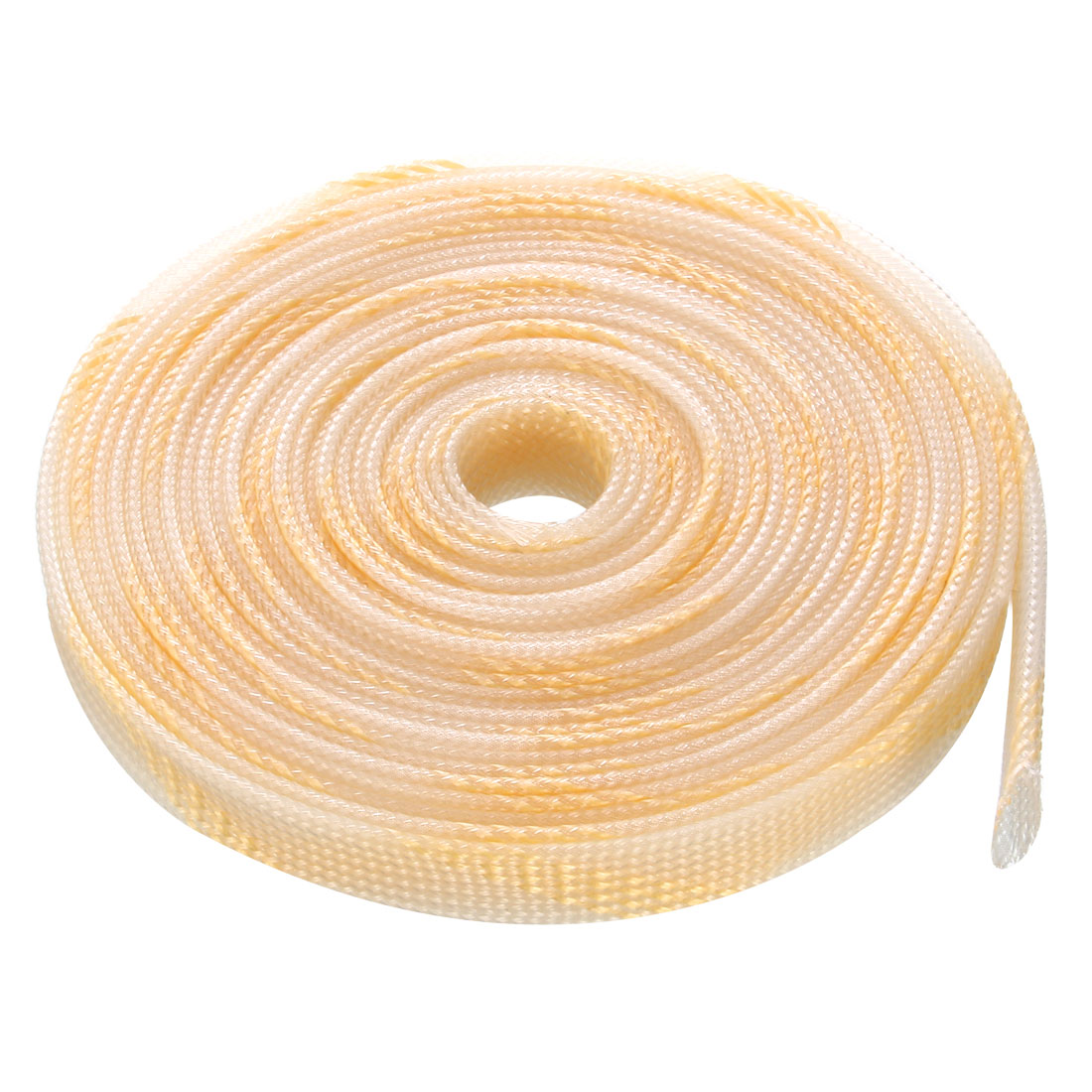 16mm Dia Tight Braided PET Expandable Sleeving Cable Wrap Sheath Transparent Orange 16Ft